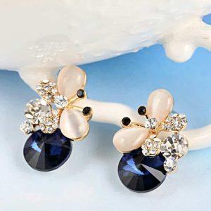 Uhani s kristalčki -modri