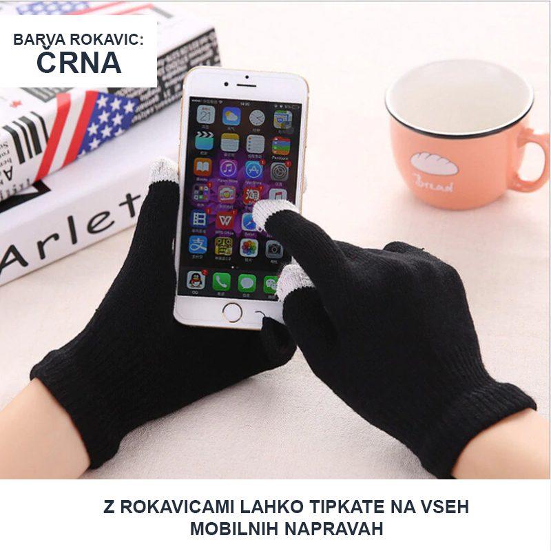 Zimske rokavice črne barve s katerimi lahko tipkate na mobilnih napravah