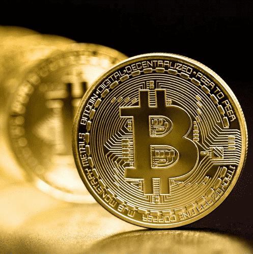 Pozlačeni Bitcon kovanec