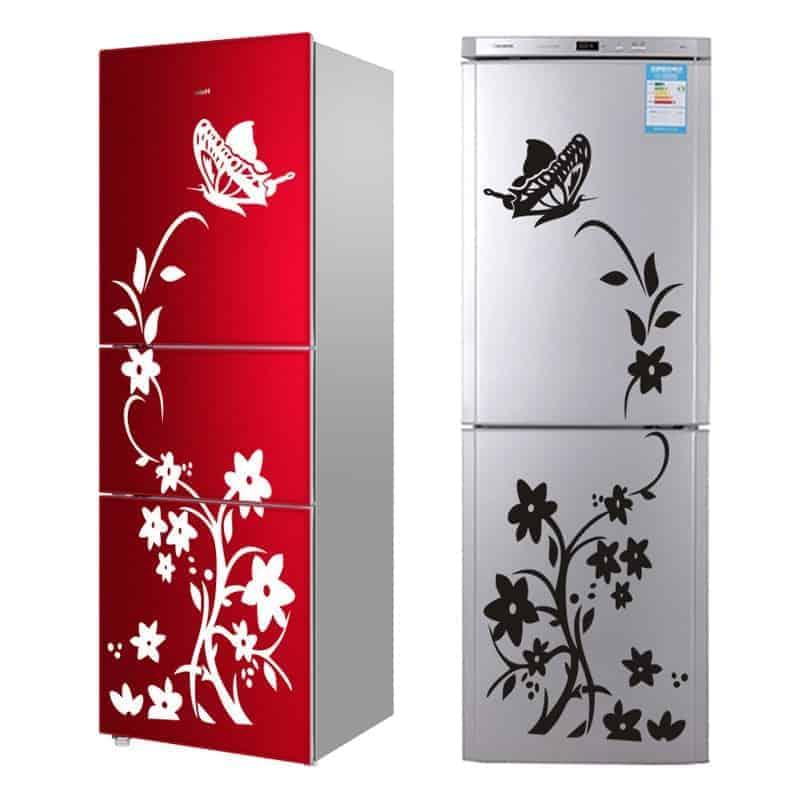 Nalepka za hladilnik z metuljem in rožami 1