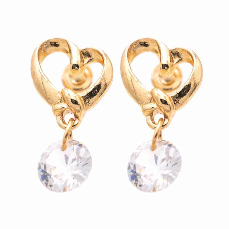 poceni zlati uhani s kristalom v obliki srca