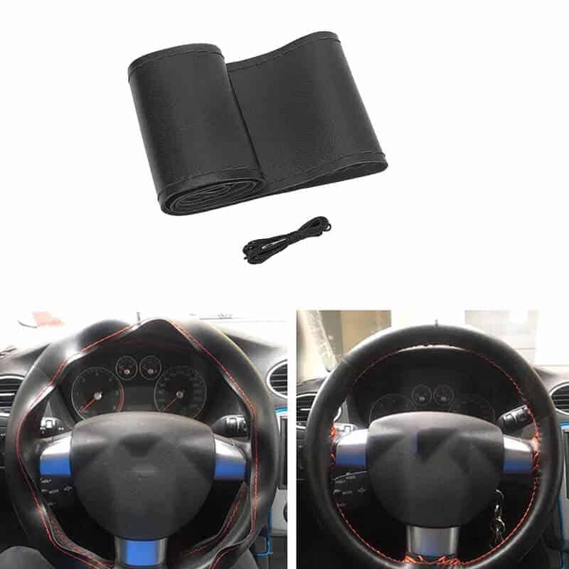 Usnjeno pokrivalo volana + igla in črna nit 1