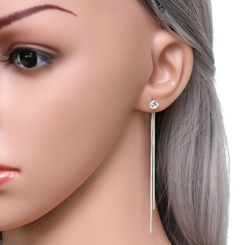 srebrni kristalni uhani
