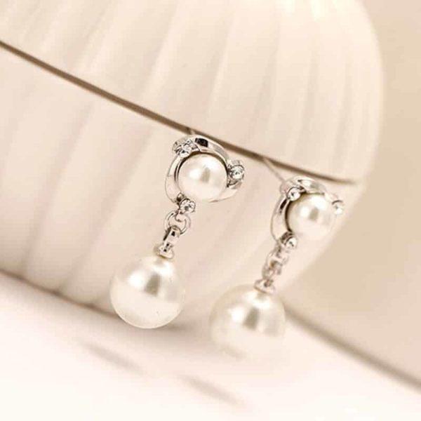 srebrni uhani z biserom