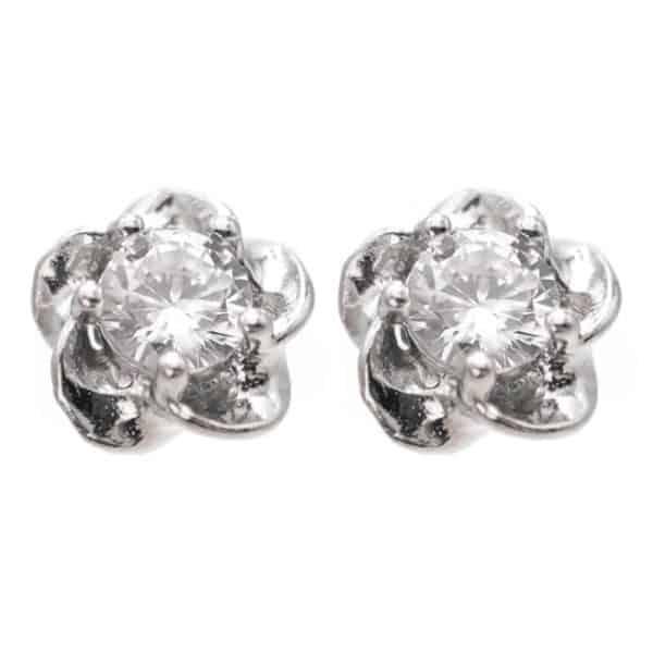 uhani srebrni rože in kristal