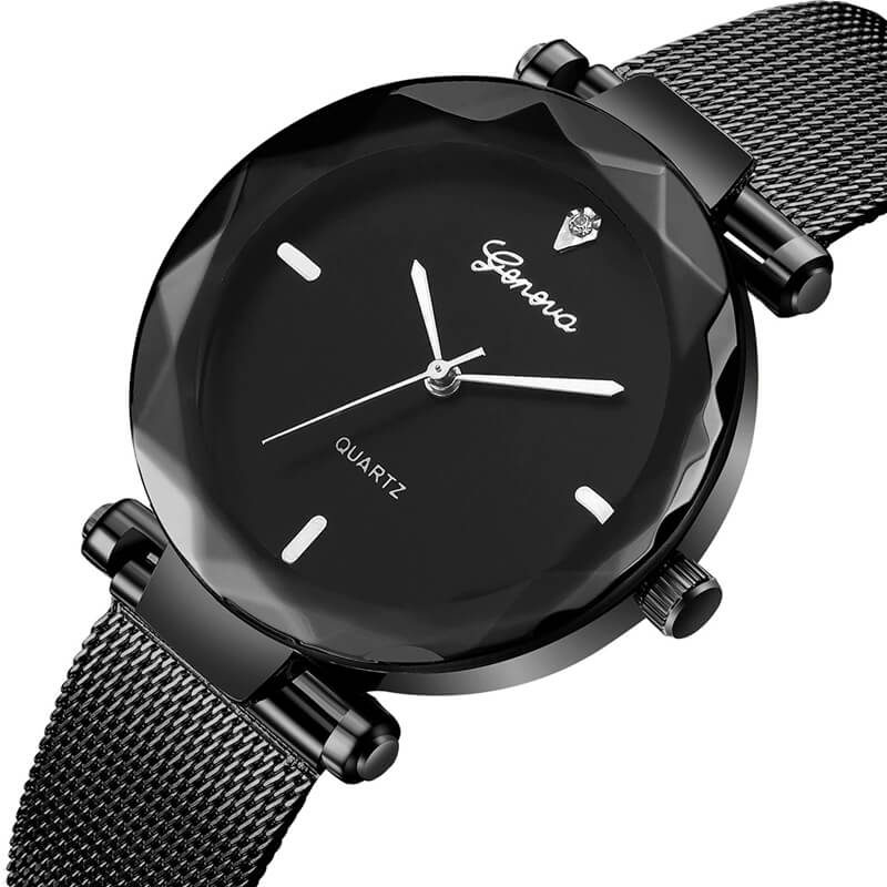 ženska ura črno srebrna