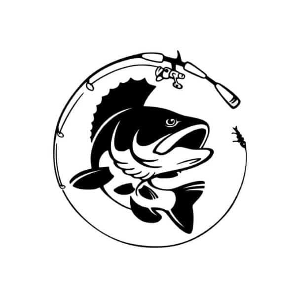 Ribiška nalepka za avtomobil s palico in ribo