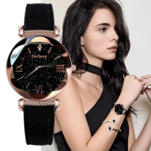 črna modna ženska ura zvezdno nebo