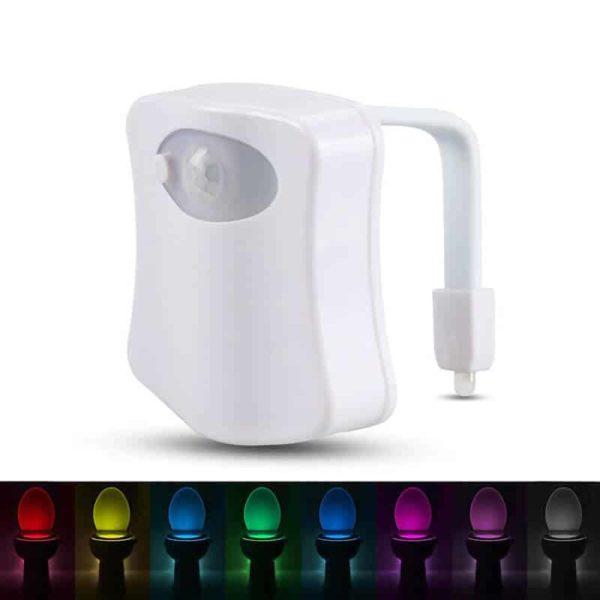 Nočna LED lučka za WC z vgrajenimi 8 barvami 1