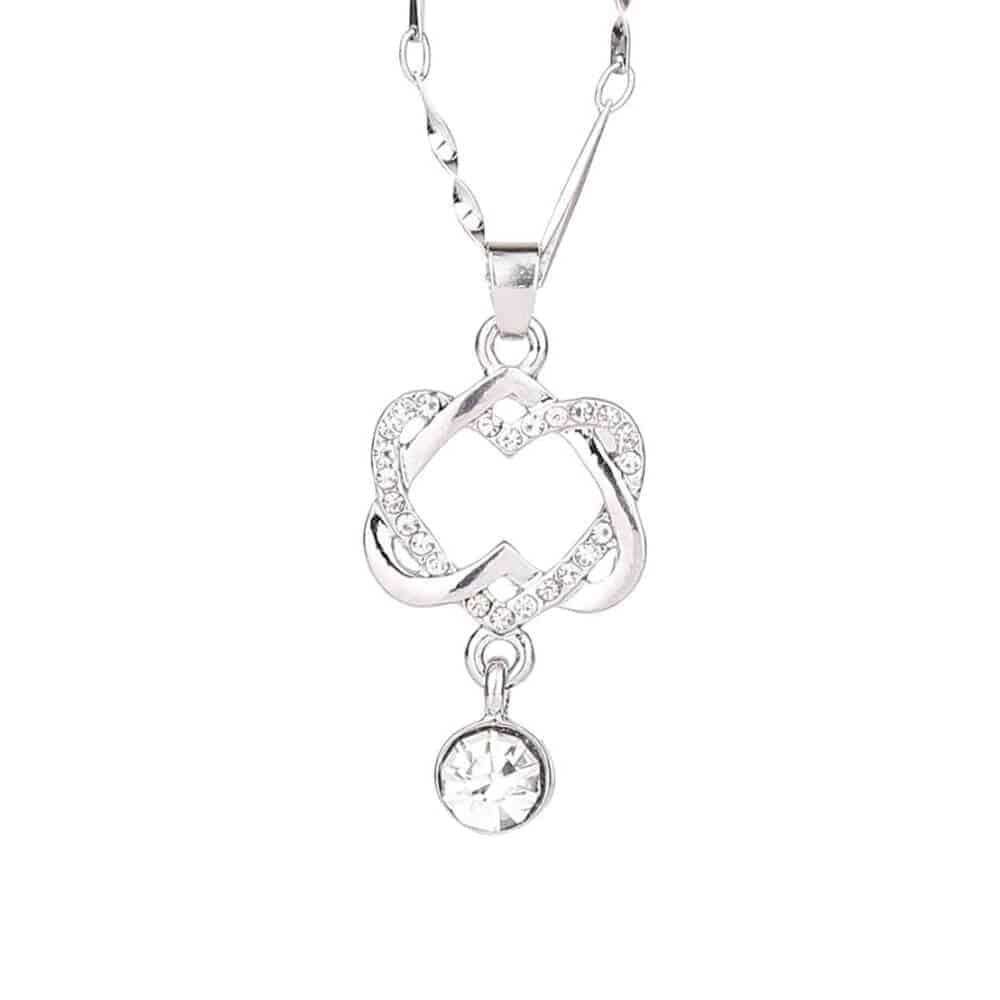 Ženska verižica dvojno srce - Srebrna z kristalom in diamantki 2