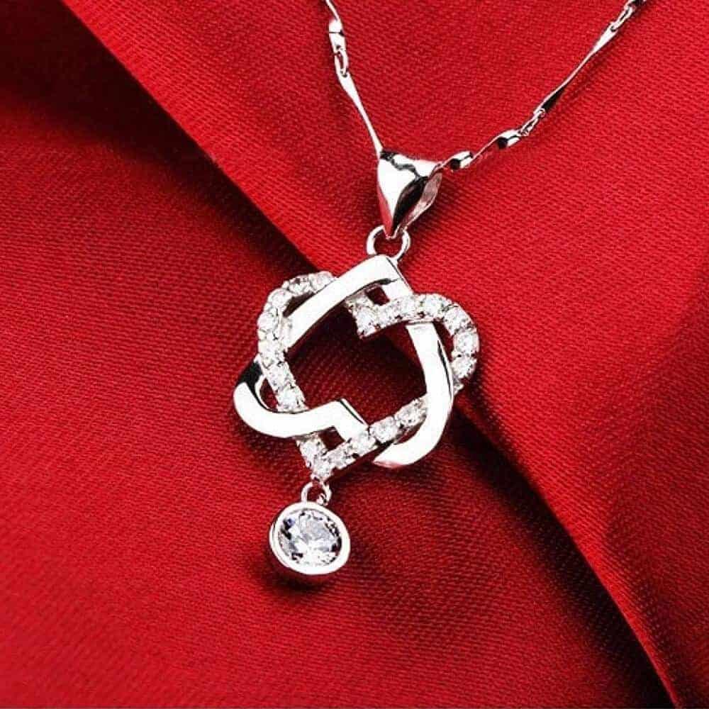 Ženska verižica dvojno srce - Srebrna z kristalom in diamantki 1