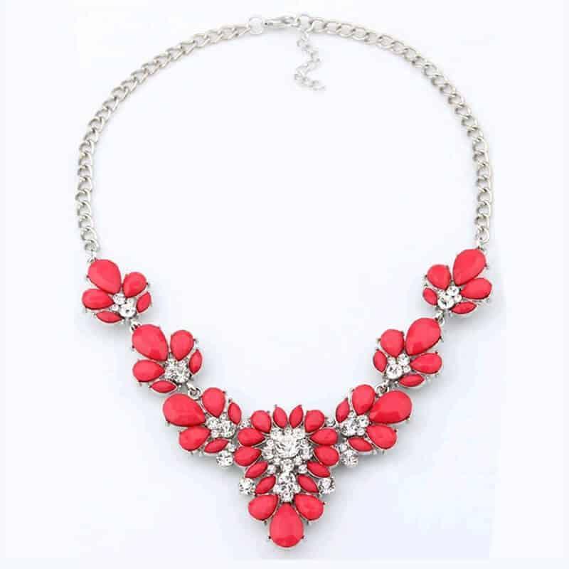 Ogrlica za ženske z diamanti v rdeči barvi 1