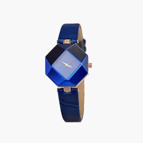 ženska ura s kristalom modre barve