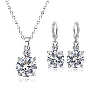 Kristalni uhani srebrne barve z diamantno verižico