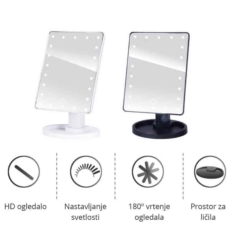 Profesionalno ogledalo z led lučkami na dotik - 22 led luči - Bela barva 2