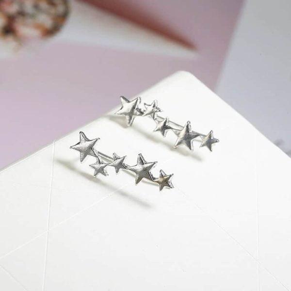 Srebrni uhani za ženske z zvezdicami