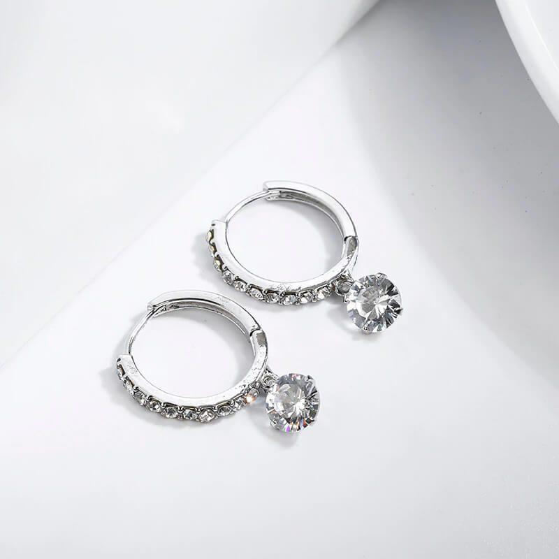 Uhani srebrni s kristali in diamanti