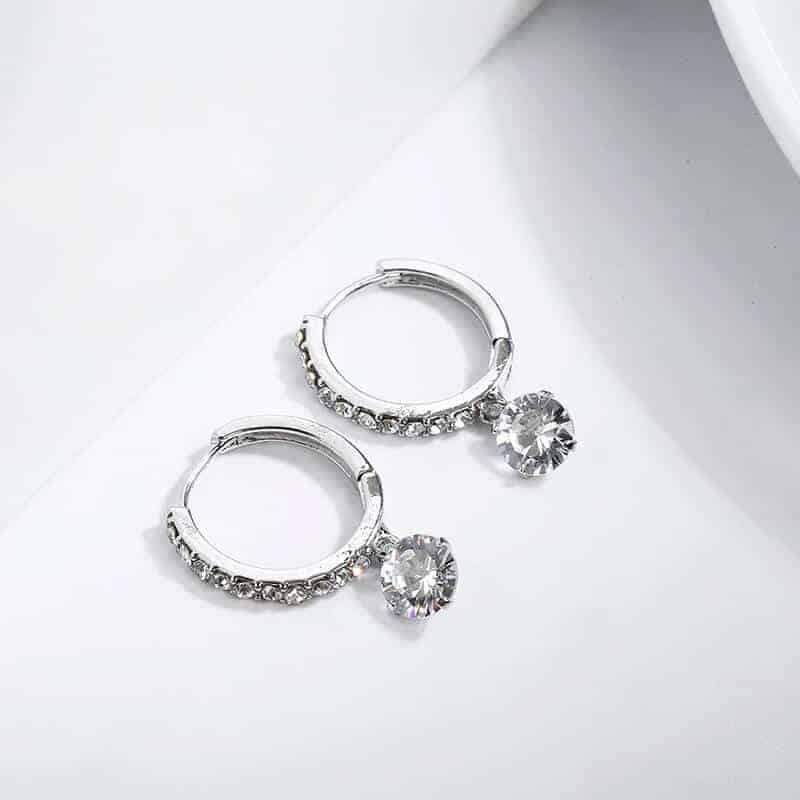 Uhani s kristali in diamanti - Srebrni in zlati 3