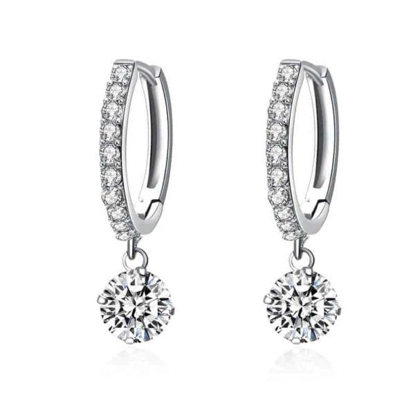 Uhani srebrni s kristalom in diamantki
