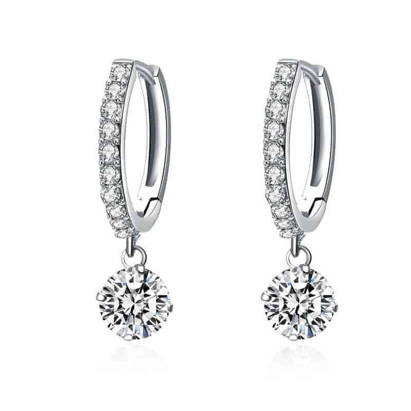 Uhani s kristali in diamanti - Srebrni in zlati 1