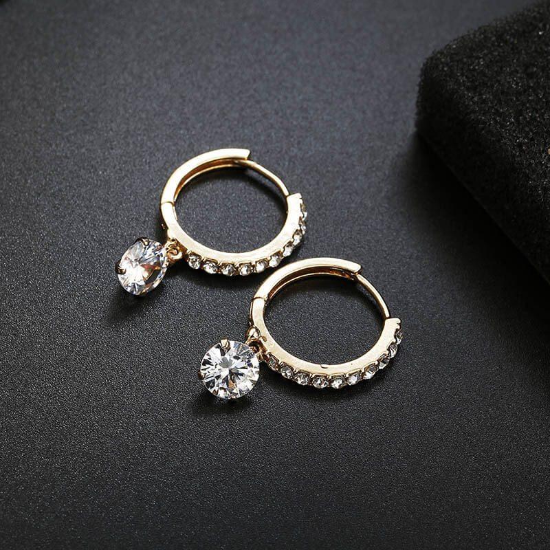Uhani zlati s kristalom in diamanti