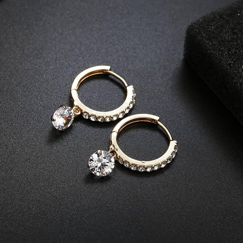 Uhani s kristali in diamanti - Srebrni in zlati 6