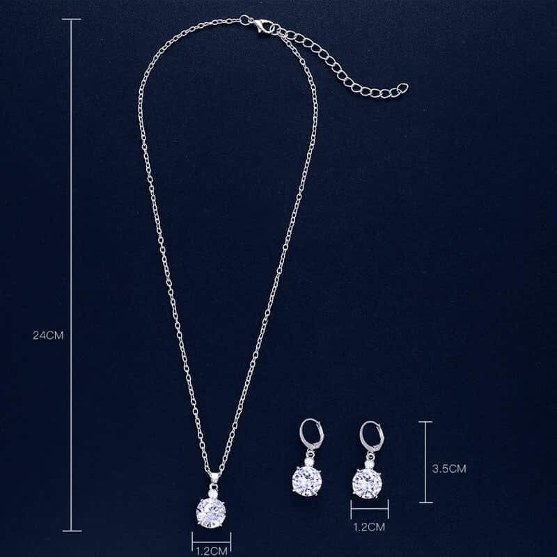 kristalni uhani s kristalno verižico velikosti