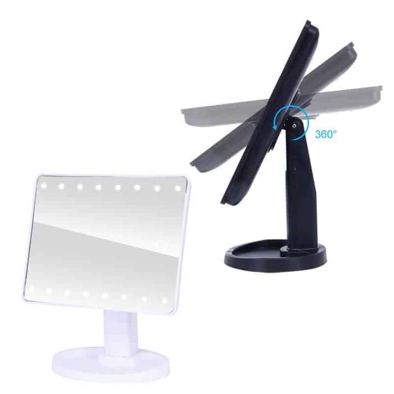 Profesionalno ogledalo z led lučkami na dotik - 22 led luči - Bela barva 4