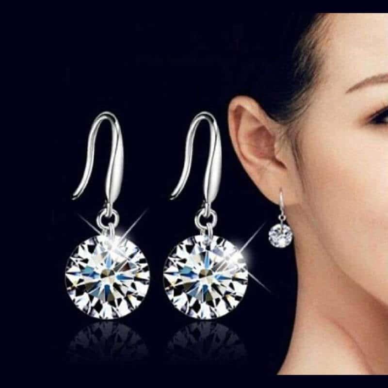 lepi kristalni srebrni uhani za vse dni