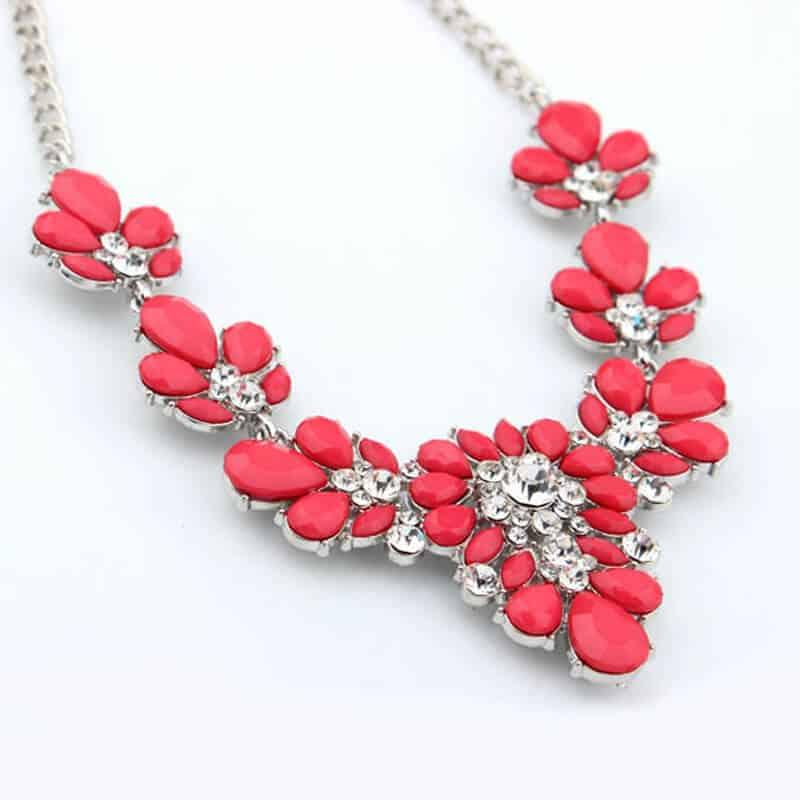 Ogrlica za ženske z diamanti v rdeči barvi 2