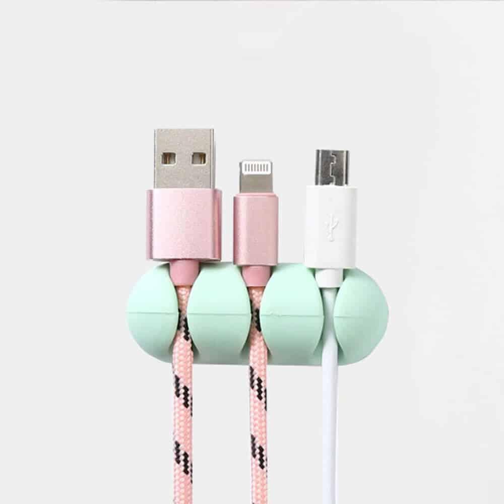 Organizator za USB kable - 2 kosa v paketu - Roza barva 1