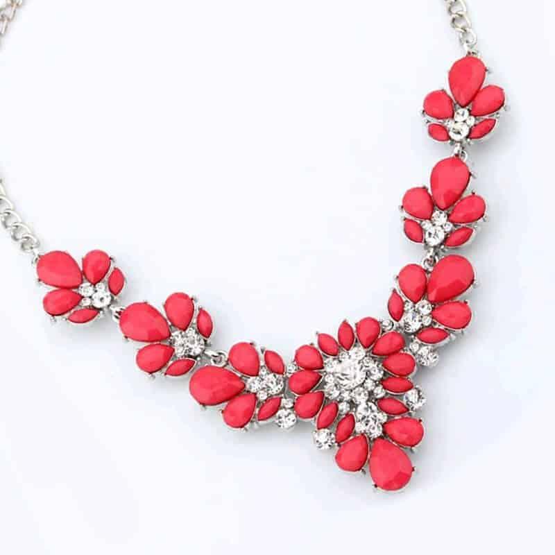Ogrlica za ženske z diamanti v rdeči barvi 3