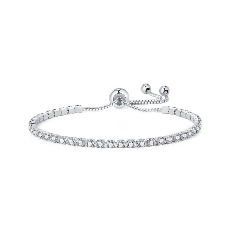 srebrna zapestnica z diamanti za ženske