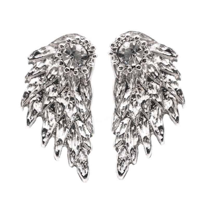 srebrni uhani angelska krila kristalni
