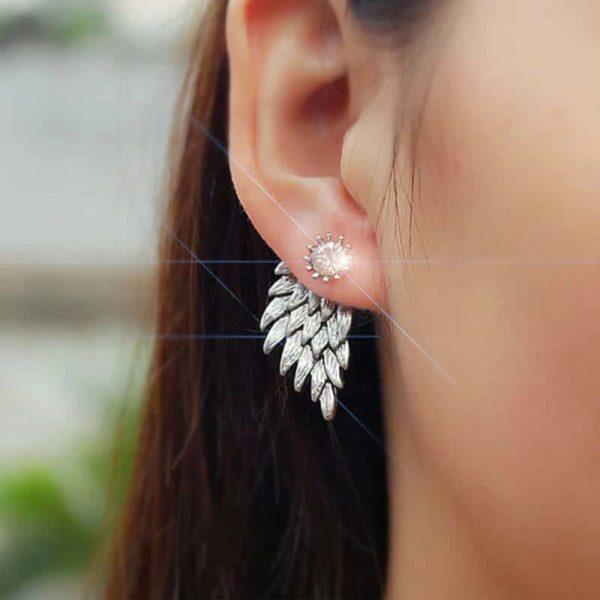 srebrni uhani z angelskimi krili