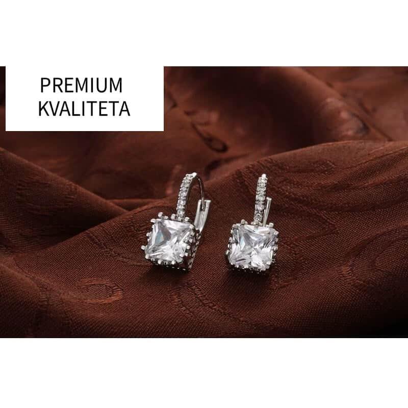 Uhani kristalni srebrne barve in diamantki - PREMIUM KAKOVOST 5