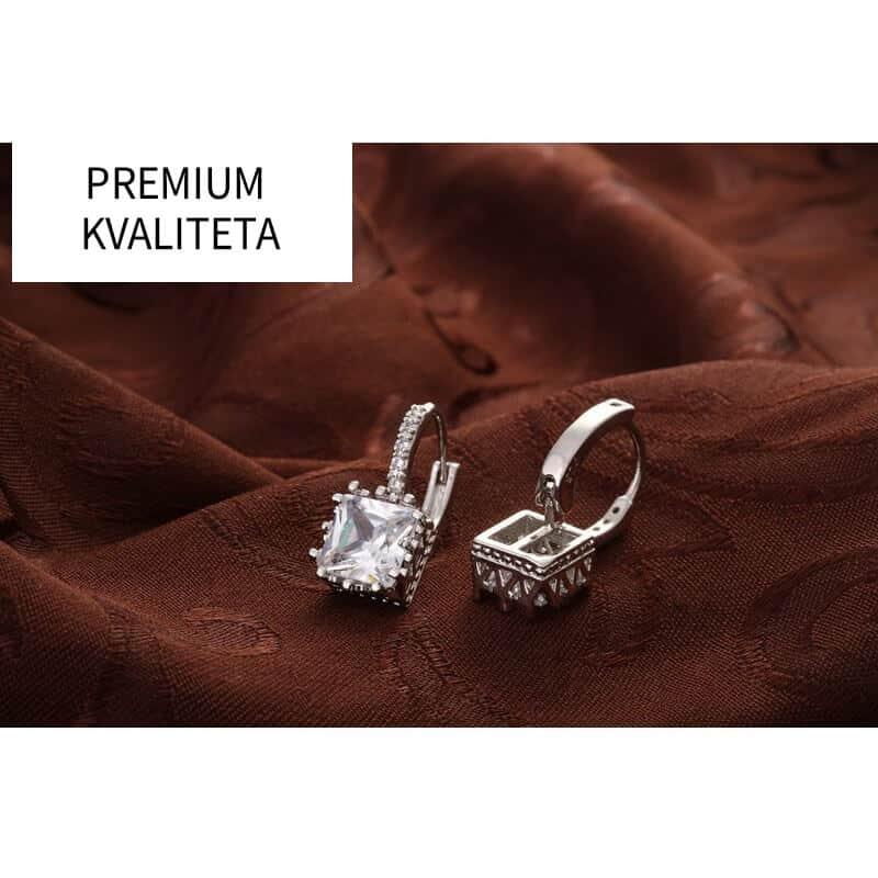 Uhani kristalni srebrne barve in diamantki - PREMIUM KAKOVOST 4