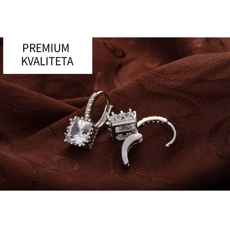 Uhani kristalni srebrne barve in diamantki - PREMIUM KAKOVOST 7