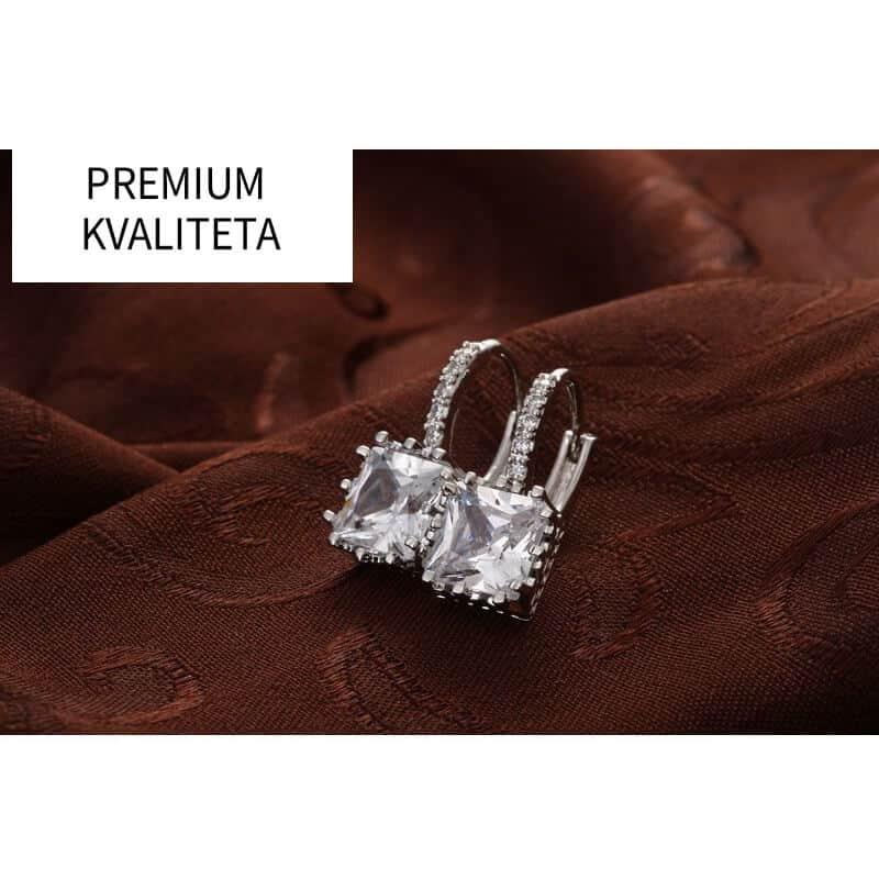 Uhani kristalni srebrne barve in diamantki - PREMIUM KAKOVOST 6