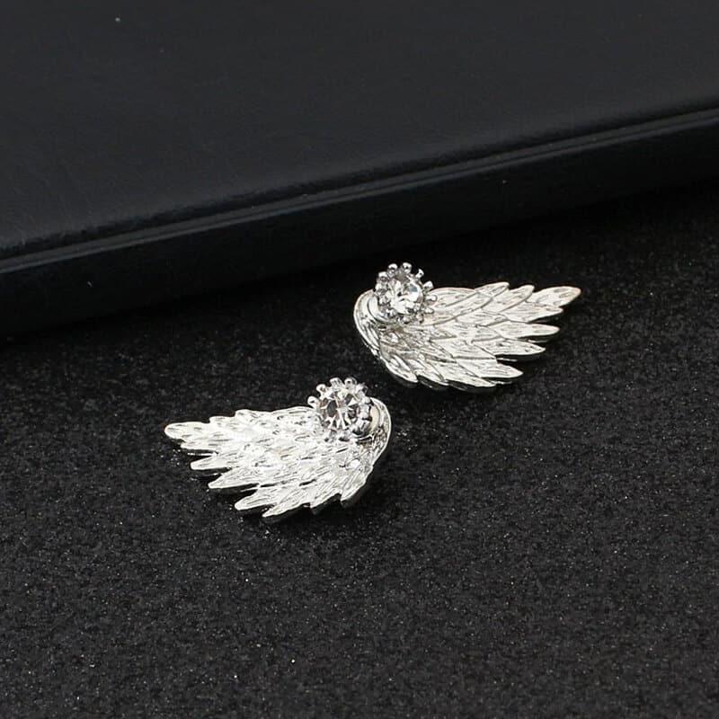 Uhani za ženske s kristalom in angelskim krilom - Srebrni in temno srebrni 3