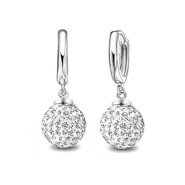 uhani srebrni disko kroglice z diamanti
