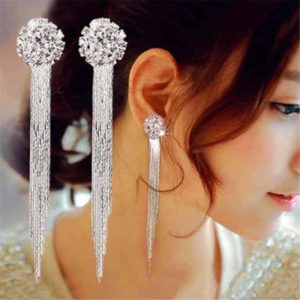 uhani srebrni dolgi z diamanti za ženske