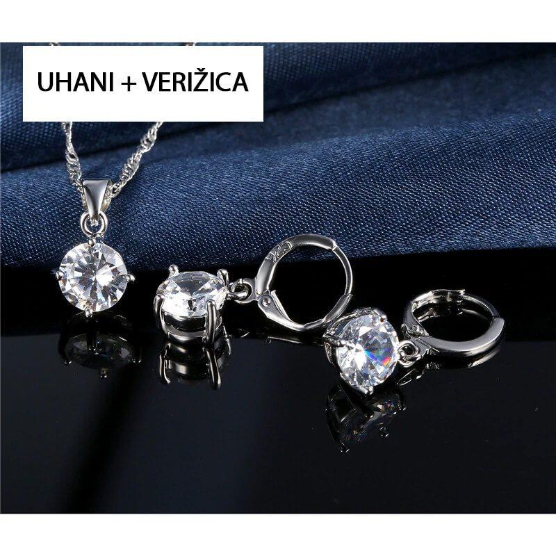 uhani srebrni in verižica s kristali