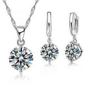 uhani srebrni in verižica srebrna