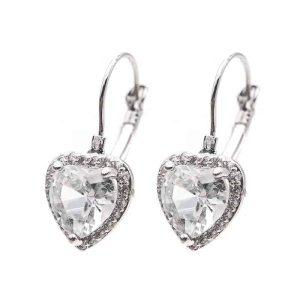 uhani srebrni kristalni srce moderni