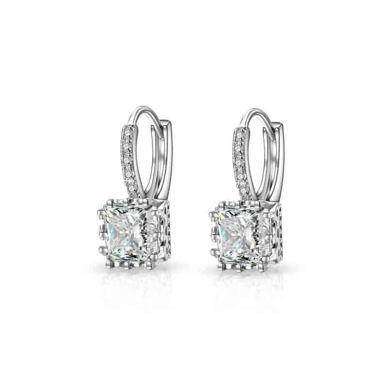 Uhani kristalni srebrne barve in diamantki - PREMIUM KAKOVOST 3
