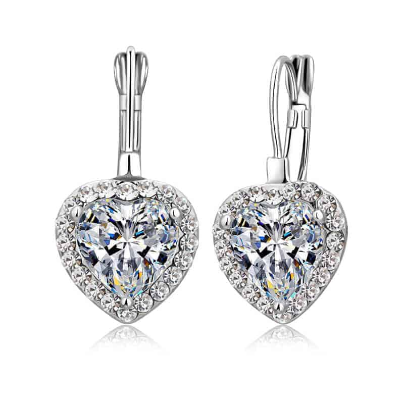 Uhani srebrni s srcem in diamantki - PREMIUM KVALITETA 1
