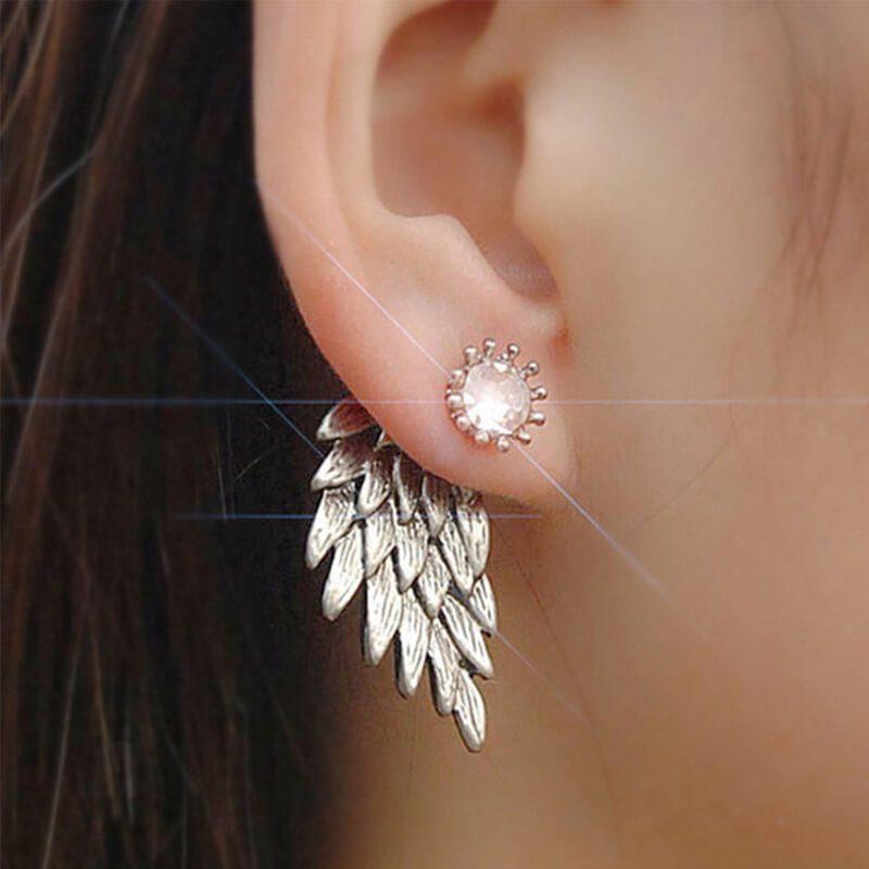 uhani srebrni s kristalom in angelskim krilom