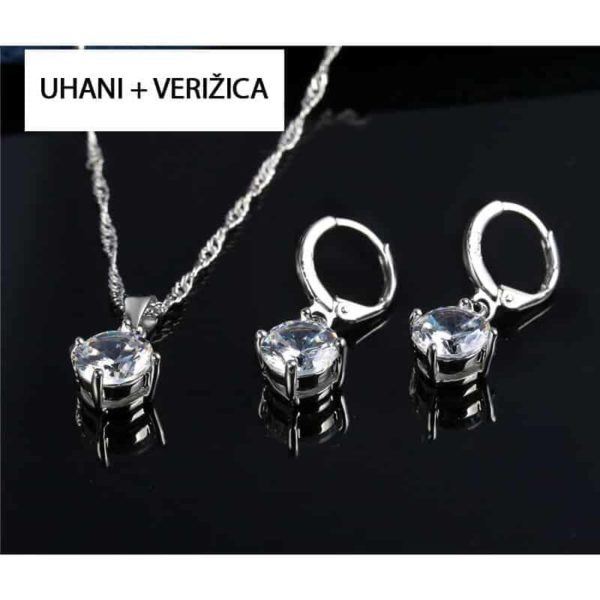 uhani srebrni z verižico in kristali