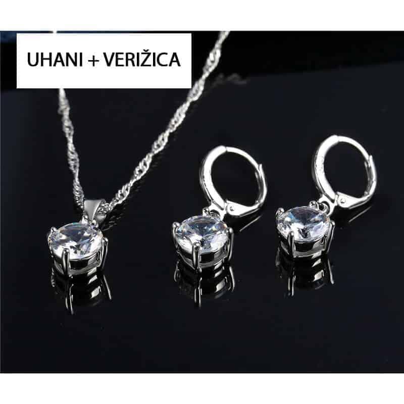 Uhani srebrni z verižico - Komplet 3